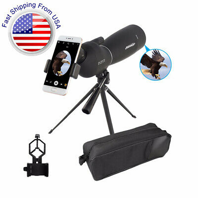 25-75X70 Zoom Angled BAK7 Waterproof Spotting Scope With Tripod & Phone Adapter