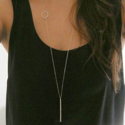 Simple loops stick long necklace Sliver / Gold Chain Necklace lariat jewelry