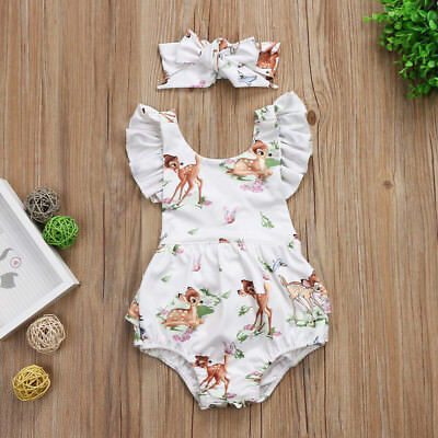 UK Stock Summer Newborn Baby Girls Deer Romper Bodysuit Jumpsuit Clothes Outfits