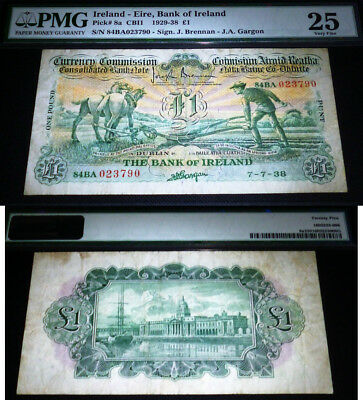 1938 PLOUGHMAN - BANK OF IRELAND £1(pound) -  scarce BANKNOTE PMG 25