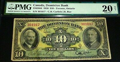 Canada ,the Dominion Bank 1938 $10 - Pmg 20