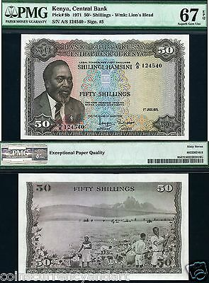 1971  Superb Gem UNC   PMG 67 EPQ   KENYA 50 SHILLINGS.