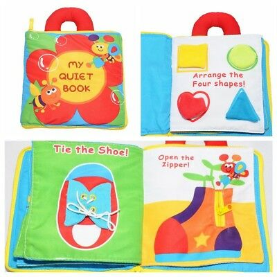 Babies MY QUIET Activity Cloth Book Toddler Travel Toy Button Shoe Lacing Zip