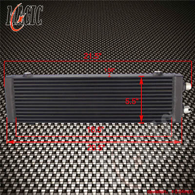 "Black Universal Dual Pass Bar & Plate Oil Cooler 18.5""x5.5""x1.58"" Core Large"
