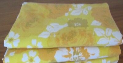 1 Pair (2) Vintage Single Bed Size Cotton Bed Sheets-Orange/yellow-Floral-Used