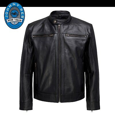 0d67ccc80e2 GENUINE JOHNNY REB Men's 'Great Ocean' Motorcycle Leather Jacket