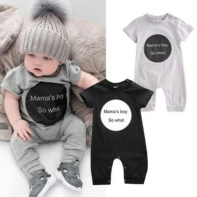 Newborn Baby Boy Girl Short Sleeve Romper Bodysuit Jumpsuit Clothes Outfit 0-24M