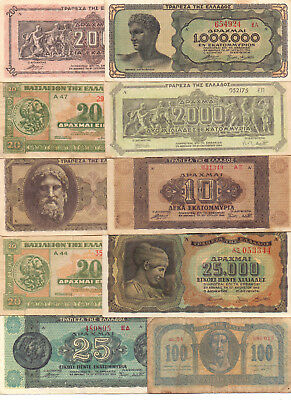 Greece  - 10 Different Greek Banknotes (Lot-9)