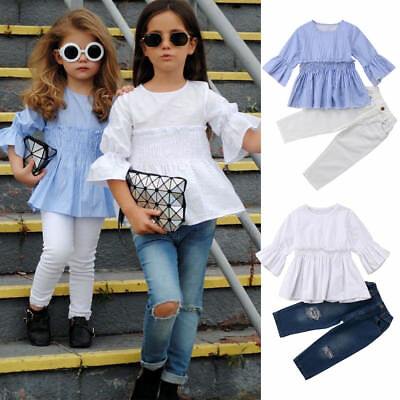 UK Stock Kids Baby Girls Outfit Clothes T Shirt Tops Dress +Jeans Pants Leggings