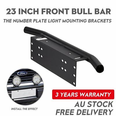 Number Plate Frame Bull Bar Mount Bracket Car Driving Light Bar Holder Black 23""