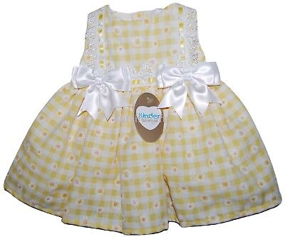 Kinder Boutique Baby Girls Gorgeous Spanish Romany Style Lemon White Bows Dress