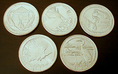Jahressatz 2015 US National Park Quarter D Mint (set of 5 coins from 2015 unc.)