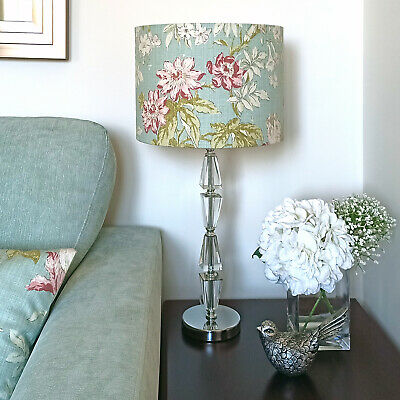 Duck Egg Blue Floral Lampshade Shabby Chic Drum Ceiling Bedside Table Lamp Shade