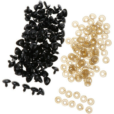 100x 13x15mm Animal Dog Safety Noses For Teddy Bears Soft Toys DIY - Black
