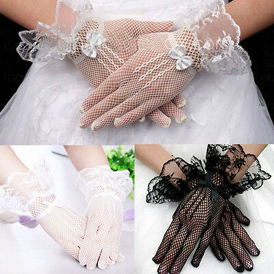 Black white Lace Short Bridal Full Gloves Formal Wedding Evening Party Pageant