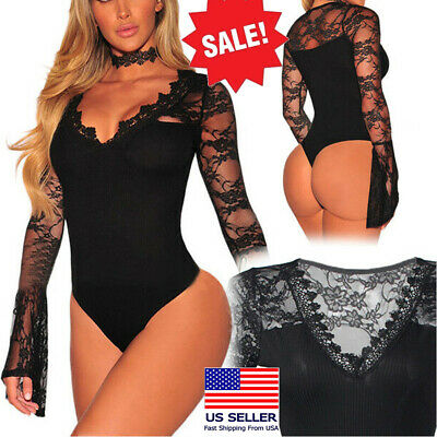 Black Lingerie V Neck Lace Long Sleeved Teddy Sleepwear Romper Bodysuit M-3XL US