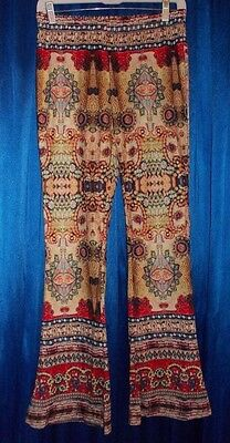 """Hippie disco Woodstock-love bellbottom stretch knit pant XS-S Small 31"""" inseam"""
