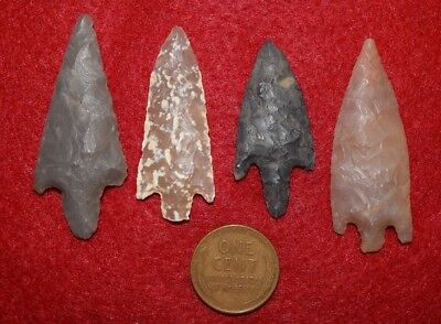 4 good Sahara Neolithic  stemmed points, nice size and colors