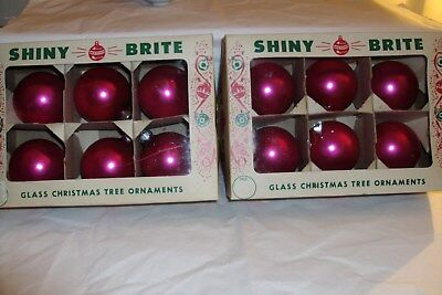 """Vintage Bright Pink Shiny Brite Glass 2 1/4"""" Xmas Tree Orn -12, Boxes Included"""