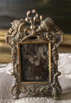 Rare Old Miniature Victorian Picture Frame Torch Ribbon Floral Ornate