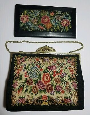 Vintage Handmade in Hungary Black Petit Point Purse Floral Tapestry &Wallet Set