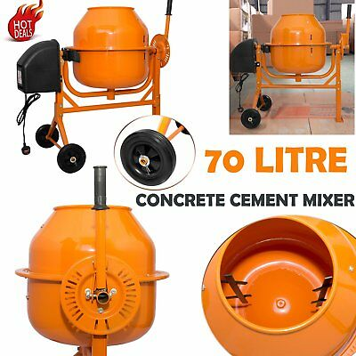 Portable Large Pro Electric 70L Concrete Cement Mixer W/ stand & Wheels 250W New