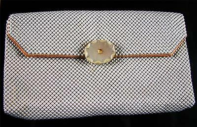 Whiting And Davis Vintage Pearl White Mesh Clutch Purse & Cigarette Case