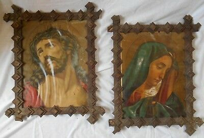 """PAIR OF LARGE (18"""" x 22"""") TRAMP ART PICTURE FRAMES w/RELIGIOUS EASTER PRINTS"""