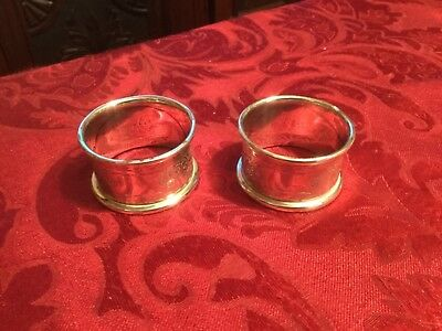 Two Matching Solid Silver Napkin Rings 1912 Birmingham