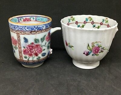 Two Chinese Cups Both Damaged