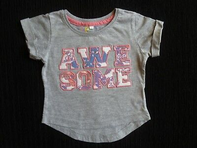 "Baby clothes GIRL 18-24m cute fun ""awesome"" grey short sleeve t-shirt SEE SHOP!"