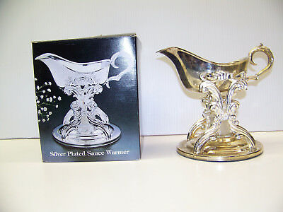 New Vintage Silver Plate Sauce Boat With Stand Warmer