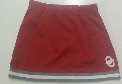 "Rivalry Threads 91 OU Skirt Size 4T Red 11"" length 19""W to 26""W stretched"