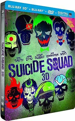 Blu Ray 3D + 2D + DVD : Suicide Squad - Ed Steelbook - NEUF