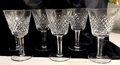 "Waterford Crystal ALANA Claret Wine Glasses 6"" Tall - Set of 6 - 5 Mint, 1 chip"