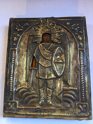 Antique Russian Hand Painted Icon Saint Michael 19 th. century