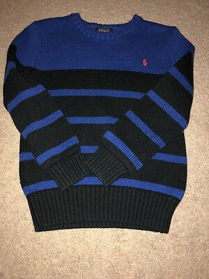 Boy Size 7 Polo Ralph Lauren Black & Blue Striped Sweater