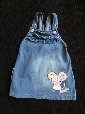 Baby clothes GIRL 6-9m Ladybird denim mouse pinafore dress 2nd item post-free!