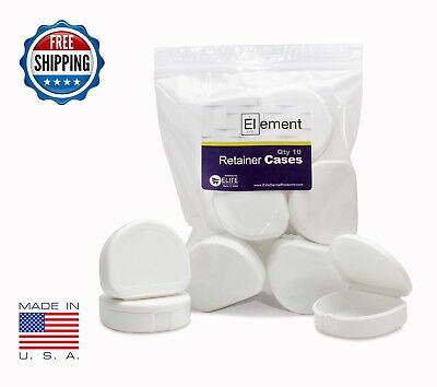 Element RETAINER CASES 10 Pack WHITE Braces Orthodontic Nightguard Bleaching