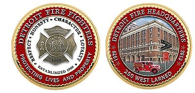 Detroit Fire Dept.HQ 250 W. Larned, Seagrave Engine Challenge Coin Silver Badge