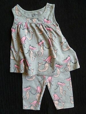 Baby clothes GIRL 2 years GAP outfit grey/pink mermaids dress-style top/leggings