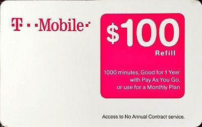 T-Mobile $100 New Unscratch Refill Prepaid Card Fast Email Delivery Tmobile