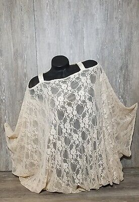 Fashion Junky Ladies Cream Lace Chiffon Long Cover Me Batwing Top~Swrski Strap