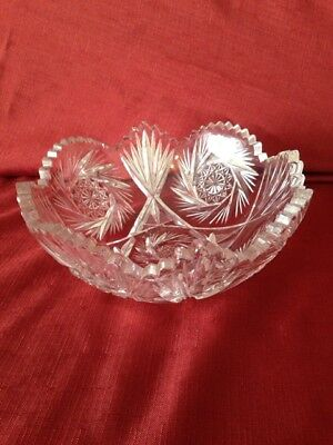 """GORGEOUS  Vintage/Antique Lead Crystal Cut Glass Bowl- 8"""" Saw Tooth Edge"""