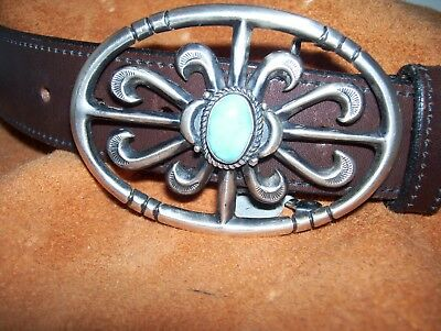Navajo sterling sandcast belt buckle - one lovely turquoise