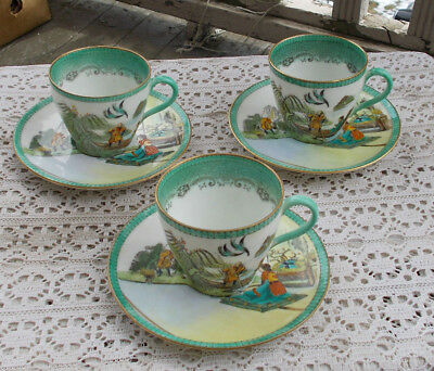 LOT SET 4 Vintage Royal Doulton Demitasse Tea Cups & Saucers Koongshee & Chang