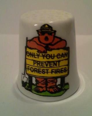 Super Nice Smokey The Bear Only You Sign Collectible Porcelain Thimble
