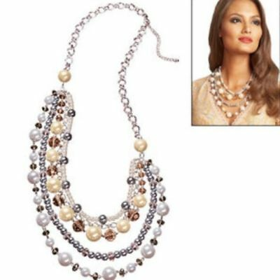 Avon Fabulous Pearlesque Faux Pearls Crystals Necklace Fashion Elegant Evening