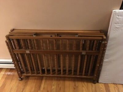 Vintage Wooden Adjustable Port A Crib Bassinet With Pad And Original Box