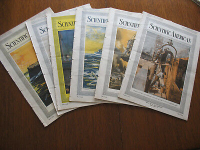 Vintage Lot Of (6) 1918 Scientific American Magazines Wwi Era